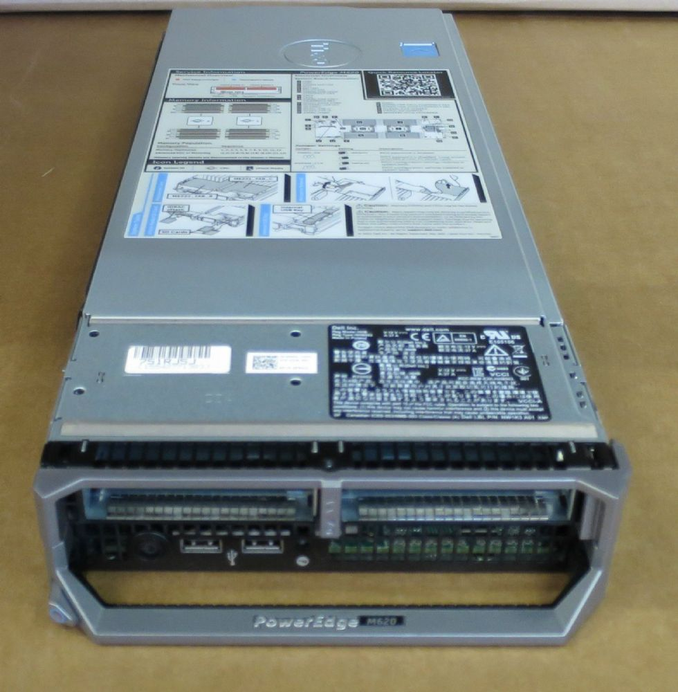 Dell PowerEdge M620 Blade Server 2x E5-2670 Eight-Core 72GB Ram 2x 146GB HDD